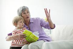 elderly person & child - stock photo