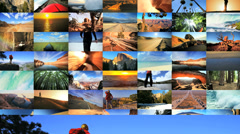 3D montage USA tourism destinations National Parks outdoor walking lifestyle Stock Footage