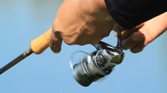 Hand spinning reel Stock Footage