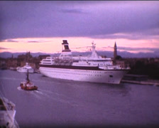 SUPER8 ITALY cruise ship in Venice Stock Footage