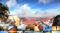 3D montage USA National parks Grand canyon Mesa arch travel outdoor lifestyle - stock footage