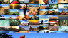CG montage USA destinations National Parks Grand canyon outdoor lifestyle Stock Footage