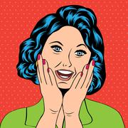 pop art illustration of a laughing woman - stock illustration