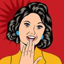 Stock Illustration of pop art illustration of a laughing woman