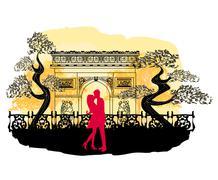 Romantic couple in paris kissing near arc de triomphe  in paris france Stock Illustration