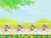 Stock Illustration of group of riders racing