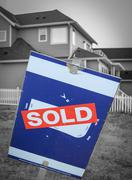 New build sold sign Stock Photos