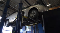 Nissan at automotive shop Stock Footage
