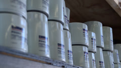 Shelve with oil filters Stock Footage