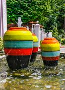 Colorful jar pot fountain Stock Photos