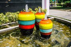 Colorful jar pot fountain Stock Photos