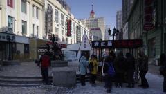 China, Heilongjiang Province, Harbin, Central shopping street Stock Footage