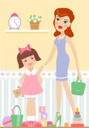 mother with her daughter - stock illustration