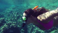 SLOW MOTION: Underwater snorkeling Stock Footage