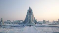 China, Heilongjiang Province, Harbin, Snow & Ice World Festival Stock Footage