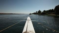 Camera boat - Nile river from Dahabiya, Egypt Stock Footage