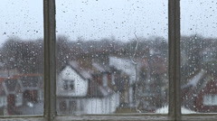 London Rain Window Pane 3 Stock Footage