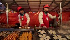 Beijing, Donghuamen Night Market Stock Footage