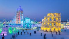 Time lapse - China, Heilongjiang Province, Harbin, Snow & Ice World Festival - stock footage