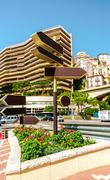 Signpost and street view of fontvieille. principality of monaco Stock Photos