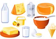 Stock Illustration of dairy and poultry products, milk, butter and cheese