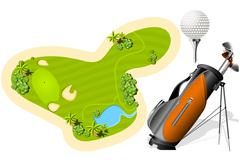 putting green, golf bag and ball - stock illustration
