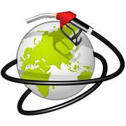 terrestrial globe obvoluted fuel hose - stock illustration