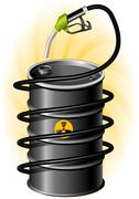 black oil drum and fuel pump with hose - stock illustration