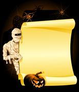 blank halloween invitation with mummy - stock illustration
