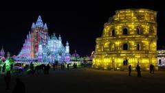 China, Heilongjiang Province, Harbin, Snow & Ice World Festival - stock footage