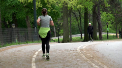 Sports jogging in Central Park of New York. USA. Stock Footage