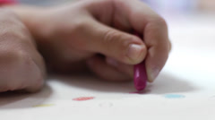 Children at school - drawing in pastel Stock Footage
