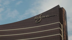 HD video of the top of the famous Wynn Macau casino hotel Stock Footage