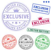 exclusive stamp - stock illustration
