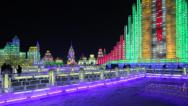 Stock Video Footage of China, Heilongjiang Province, Harbin, Snow & Ice World Festival