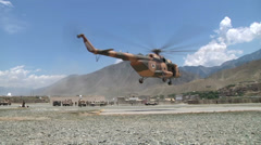 US - Army - Afghan Police Helicopter - Landing Stock Footage