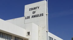 County Of Los Angeles Sign On Office Building Stock Footage