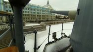 Stock Video Footage of Cannon, naval guns of the cruiser Aurora 2.7K.