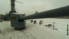 Cannon, naval guns of the cruiser Aurora 2.7K. Stock Footage