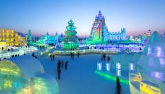 Time lapse - China, Heilongjiang Province, Harbin, Snow & Ice World Festival Stock Footage
