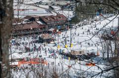 Appalachian mountain ski resort Stock Photos