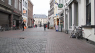 Stock Video Footage of Cobblestone European Street (No Pan) on a Windy Day