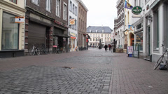 European Cobble Stone Walking Street Stock Footage