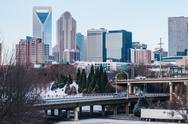 Stock Photo of charlotte nc skyline covered in snow