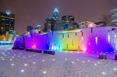 Charlotte queen city skyline near romare bearden park in winter snow Stock Photos