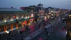 Qianmen St, Beijing, China Stock Footage