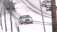 Dangerous Snowy Roads Stock Footage