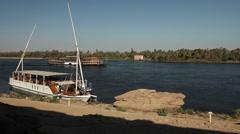 Dahabiya felucca and Sudan on the Nile, Egypt Stock Footage
