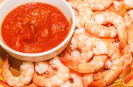 Stock Photo of fresh organic shrimp cocktail with red sauce