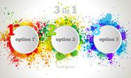 Stock Illustration of vector graphic design button and labels template. color paint splashes gradie